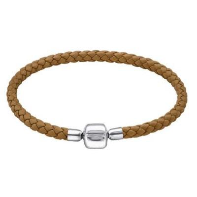 Bracelet Charms 19 cm Cuir Marron Camel Fermoir Poussoir Argent 925 -  Compatible Pandora, Trollbeads. SO CHIC BIJOUX 89e319e6a43