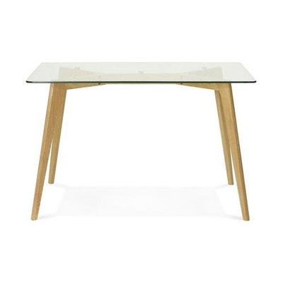 Table à Manger Rectangulaire Avec Plateau En Verre Pieds Bois FIORD Table à  Manger Rectangulaire Avec