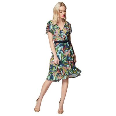 e22122e922c Платье расклешенное с запахом с рисунком в гавайском стиле Платье  расклешенное с запахом с рисунком в