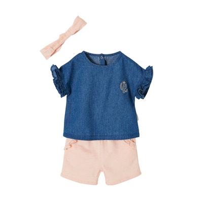 b3ae4a35547bc Ensemble à volants bébé fille blouse en jean + short + bandeau VERTBAUDET