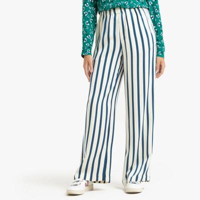 Wijde gestreepte broek met elastische tailleband Wijde gestreepte broek met elastische tailleband SAMSOE AND SAMSOE