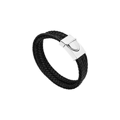 576cce05d83 Bracelet tresse trio en cuir et acier