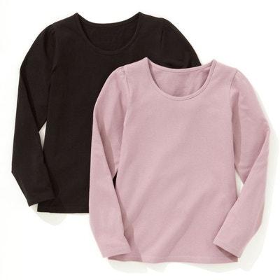 10e47a40ca04a Lot de 2 T-shirts manches longues unis 3-12 ans Lot de 2