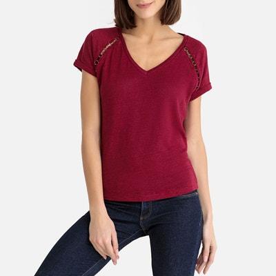 Tee shirt en lin col V Tee shirt en lin col V IKKS 23b0cd66f14