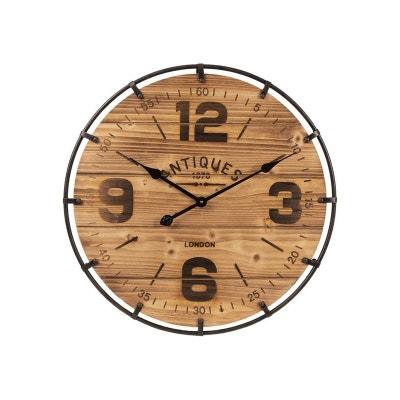 c88db5b5daae4 Horloge Murale Ronde Bois et Métal Noir - diamètre 60cm Horloge Murale  Ronde Bois et Métal