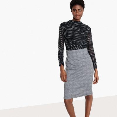 1fa98afcfda Платье офисное из двух материалов в горошек и в клетку Платье офисное из  двух материалов в