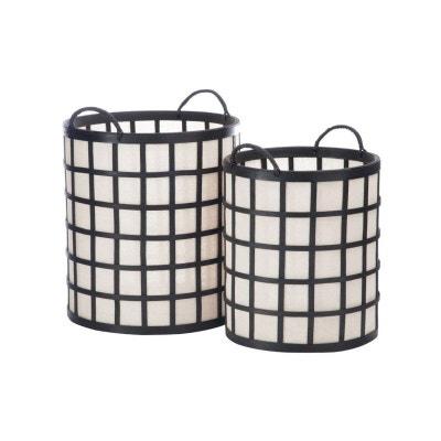 7d1a5162cba3 Set de 2 Paniers de Rangement en Bambou Noir et Tissu Blanc WADIGA