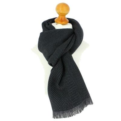Echarpe rayée en laine d Australie, 35x180cm, Gris malte. 08e042ae8a3