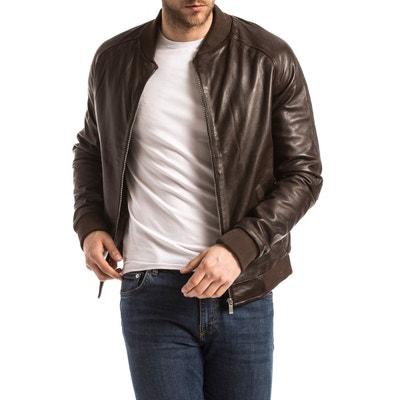 Blouson, veste en cuir homme en solde   La Redoute 5c22c9db124