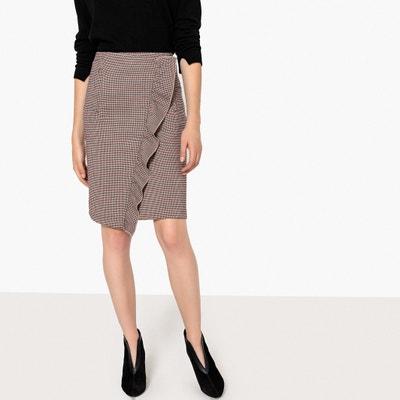 Ruffled Houndstooth Check Pencil Skirt Ruffled Houndstooth Check Pencil Skirt LA REDOUTE COLLECTIONS