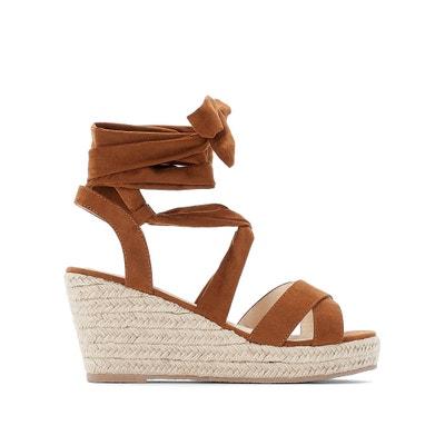 ede3ebe809ffce Wide Fit Faux Suede Tie-Leg Wedge Sandals Wide Fit Faux Suede Tie-Leg