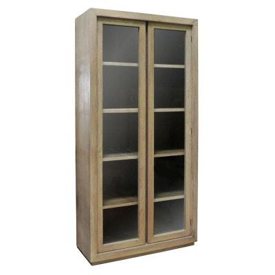 Bibliothèque 2 portes vitrées chêne massif SOOMAA réf 30020865 PIER IMPORT ed2962698f1c