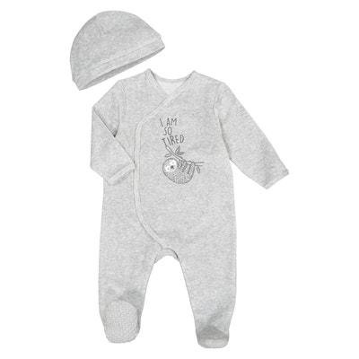 Ensemble pyjama et bonnet velours, Préma-2 ans Ensemble pyjama et bonnet  velours, dfd5099f98a