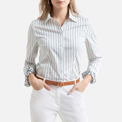 Hemd met geweven-geverfde strepen en lange mouwen Hemd met geweven-geverfde strepen en lange mouwen ANNE WEYBURN