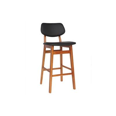 Chaise De Bar Design Bois Noyer Et Noir 65 Cm NORDECO MILIBOO