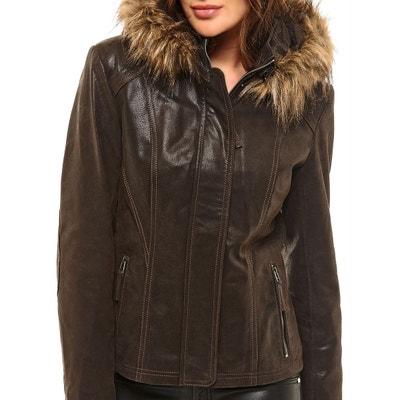 Veste simili cuir avec capuche femme