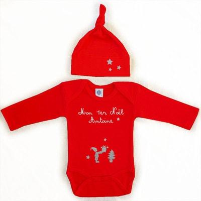 Kit body et bonnet bébé Noël prénom coton manches longues rouge LES GRIOTTES 46cbb97aad4