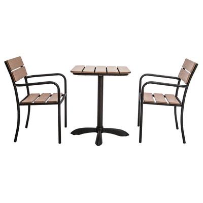 Salon De Jardin Avec Table Bistrot Et 2 Chaises Noir Bois PUB