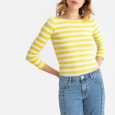 bfca0d74f1f T-shirt rayé col bateau manches 3 4 jersey stretch T-shirt rayé