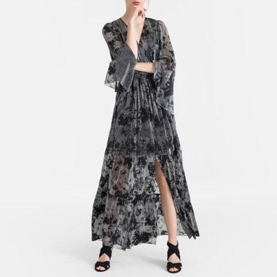 Lange jurk in voile met glanzende print VIANCA Lange jurk in voile met glanzende print VIANCA BA&SH