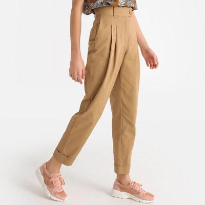 fb5b385b771c Pantalon droit à pinces taille haute à revers Pantalon droit à pinces  taille haute à revers