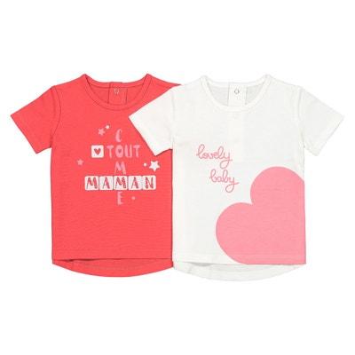 77e685a3779ec Lot de 2 T-shirts imprimés 1 mois-4 ans Lot de 2 T