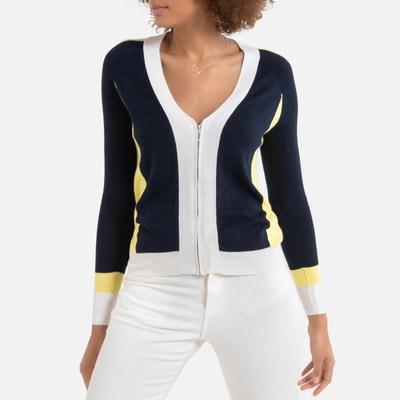 Vest met V-hals en ritssluiting in fijn tricot Vest met V-hals en ritssluiting in fijn tricot LA REDOUTE COLLECTIONS