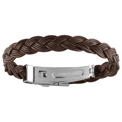 1e28a0fc317d Bracelet Mixte 19,5 cm Tressé Cuir Marron Acier Bracelet Mixte 19,5 cm
