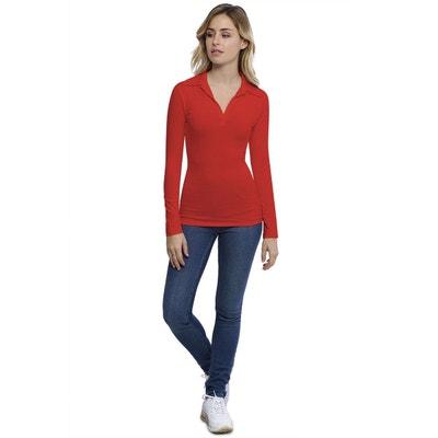 8c5bbb5dd832b T-shirt col polo manches longues en modal GLORIA RENDEZ-VOUS PARIS
