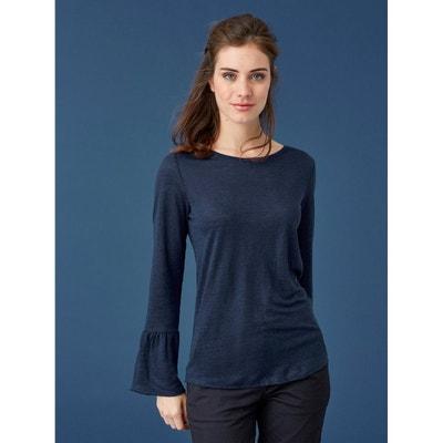 6c61067136a1 T-shirt femme jersey de lin manches volantées