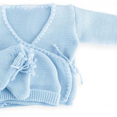 Ensemble 3 pièces garçon - Brassière naissance, bonnet et chaussons en  laine Ensemble 3 pièces. LES KINOUSSES 2b9247b6b43