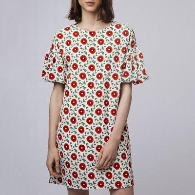 Vestido corto con estampado de flores y mangas farolillo Vestido corto con  estampado de flores y 807c47010535