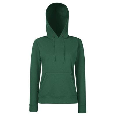 sweat à capuche vert femme