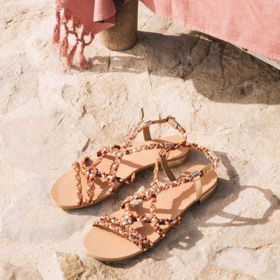 28893c6806675 Sandales plates tressées en cuir Sandales plates tressées en cuir LA  REDOUTE COLLECTIONS