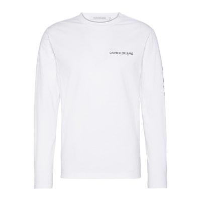 ca2381a8cf14 T-shirt col rond manches longues logo devant CALVIN KLEIN JEANS