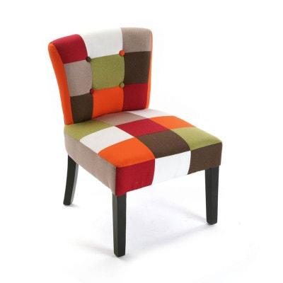 Fauteuil Chaise En Tissu Patchwork Colore Et Pieds Bois 64x62x56cm GREEN PIER IMPORT