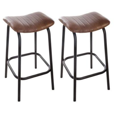 f2a3f439951 Lot de 2 tabourets de bar cuir marron réf. 30022044 Lot de 2 tabourets de
