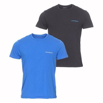 Lot de 2 tee-shirts col rond en coton stretch électrique et floqués de la. EMPORIO  ARMANI 0825b2edfbf