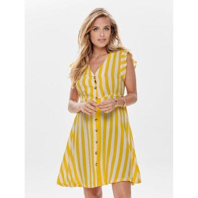4c2a3e24f66003c Платье в полоску с V-образным вырезом и короткими рукавами Платье в полоску  с V