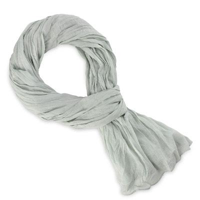 Chèche coton gris argent uni ALLEE DU FOULARD ef2829c94a0