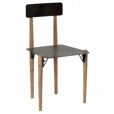 Chaise En Metal Et Pieds Bois Massif 48x47x83cm VULCAN PIER IMPORT