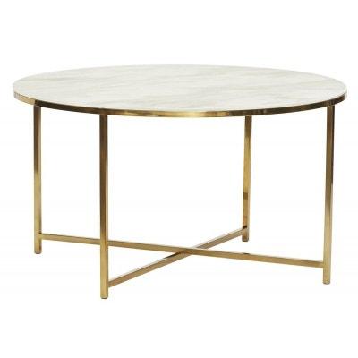 070557fa3b8f7f Table basse ronde métal verre effet marbre Table basse ronde métal verre  effet marbre HUBSCH