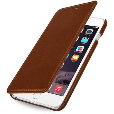 Etui iPhone 6 Plus Book Type sans clip en cuir véritable cognac - Stilgut  STILGUT 421e6156b99