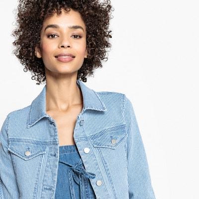 410088badb0 Жакет в полоску из джинсовой ткани с поясом Жакет в полоску из джинсовой  ткани с поясом