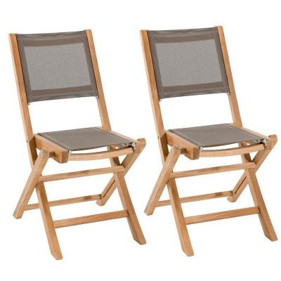 Lot De 2 Chaises Jardin Pliantes Teck Textilene Taupe SUMMER Ref 30020802