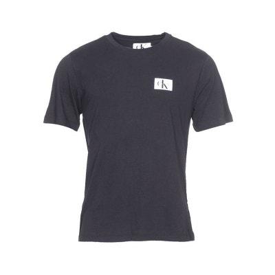 Tee-shirt col rond Monogram Chest Badge Logo en coton floqué Tee-shirt col. CALVIN  KLEIN JEANS 744d01ae9e0
