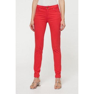Pantalon slim fit crop rouge Violeta By Mango | La Redoute
