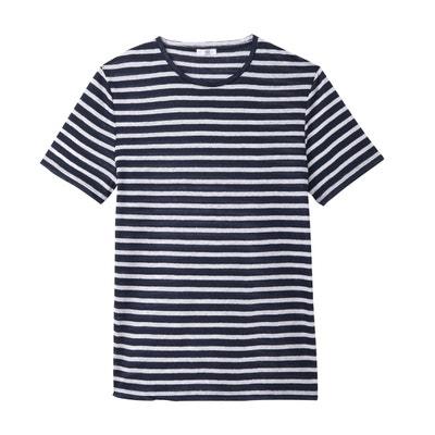 34efb1d26d6 T-shirt rayé col rond en lin T-shirt rayé col rond en lin