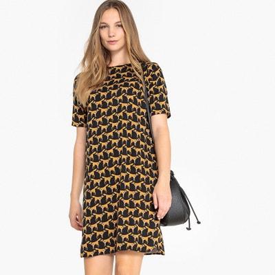 2be52901832 Fox Print V-Back Mini Shift Dress Fox Print V-Back Mini Shift Dress