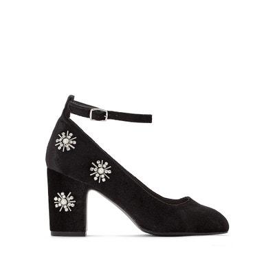 1af039ae363 Zapatos de tacón tipo babies de terciopelo con tacones y bisutería de  flores Zapatos de tacón. OUTLET